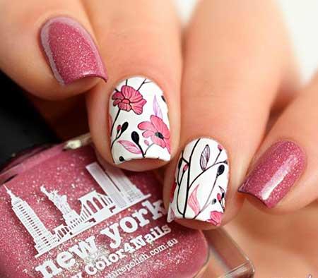 Floral Nail, Art, Flower Nail, Spring Anchor Nail, Anchor, Floral
