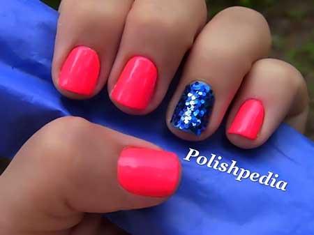 Pink Accent Nail, Pink, Pretty Nail, Polish, Hot, Blue, Accent, Idea, Pretty,