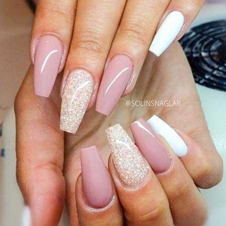 Pink Nail, Coffin Nail, Acrylic Glitter, White