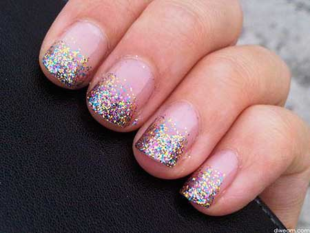Glitter, Glitter Nail French Manicure, Polish, Sparkle, Nail Polish, Simple, French, Super