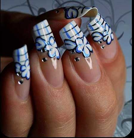 Art, Toe Nail, S, White, Blue