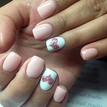 Heart Nail Design, Nail Pink Heart Glitter