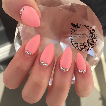 Coral Pink Long Almond Acrylic Nails, Nail Coral Nails Matte