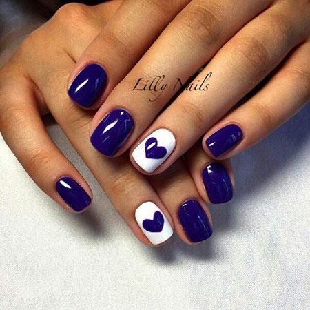 Short Nail Design with Hearts, Nail Nails Ring Blue