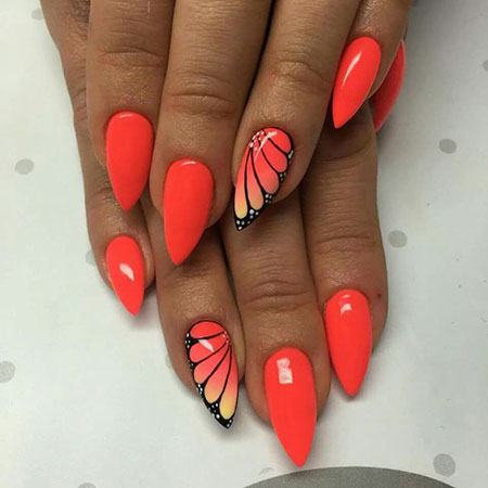 Summer Red Nails, Nail Summer Nails Butterfly