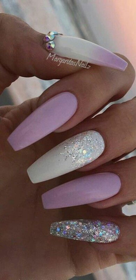 Nude White and Purple Nails, Nail White Nails Coffin