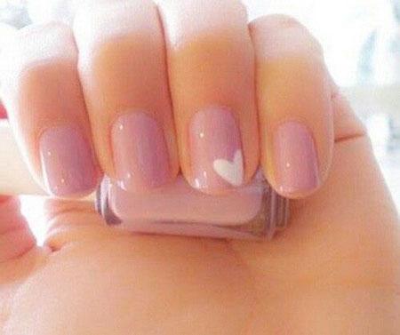 Simple Pink Heart Nail Design, Nail Pink Simple Nails