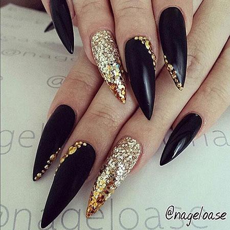 Stiletto Nail Design, Gold Nails Nail Stilettos