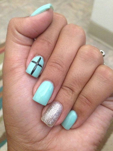 Cute Color Teal Nails, Nail Teal Cross Silver
