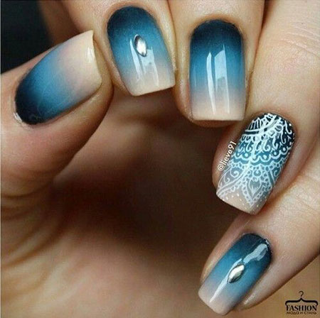 Nail Blue Design Art