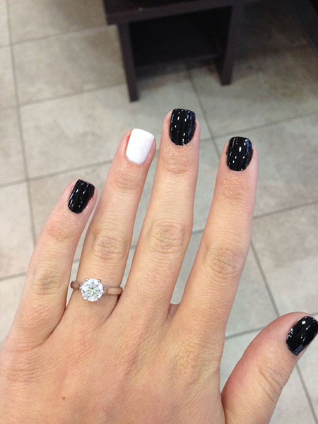 Black White Shellac Nail