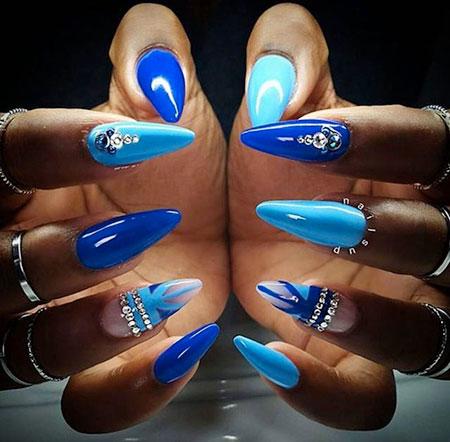 Blue Nails Nail Stiletto