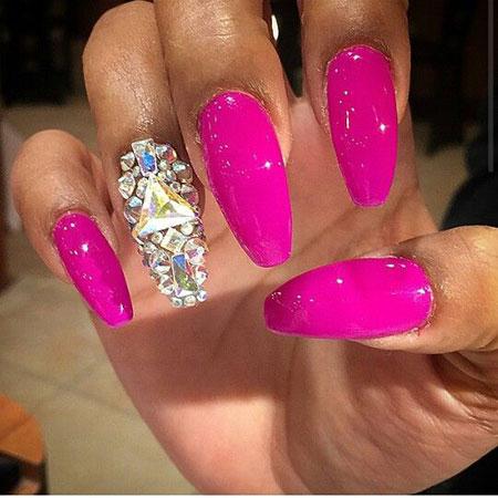 Nail Nails Pink Rhinestone
