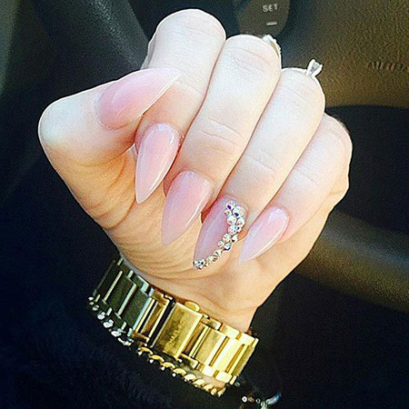 Nails Nail Stiletto Nude