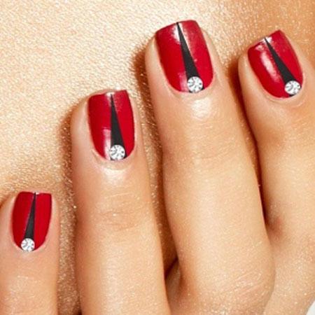 Nail Red Nails Black