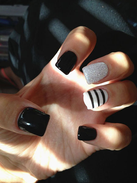White Black Nail Nails