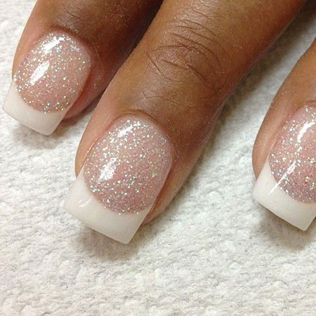 Nails French Manicure Glitter