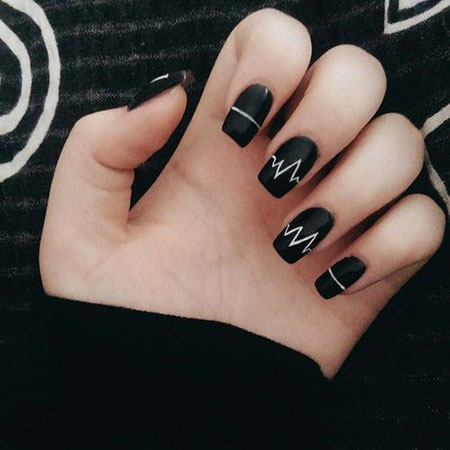 Nails Nail Black White