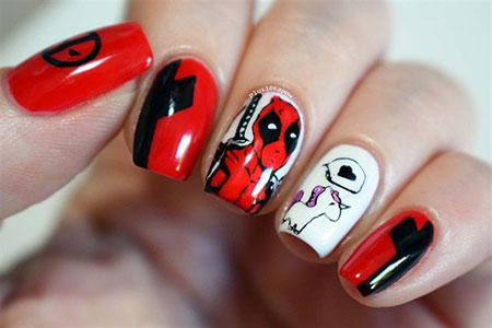 Cool Deadpool Nail Art, Nail Ladybug Art Nails