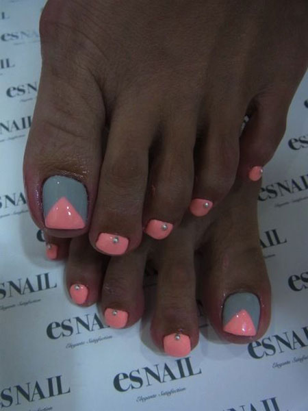 Grey and Orange Cute Toenail Art, Nail Grey Cute Pink