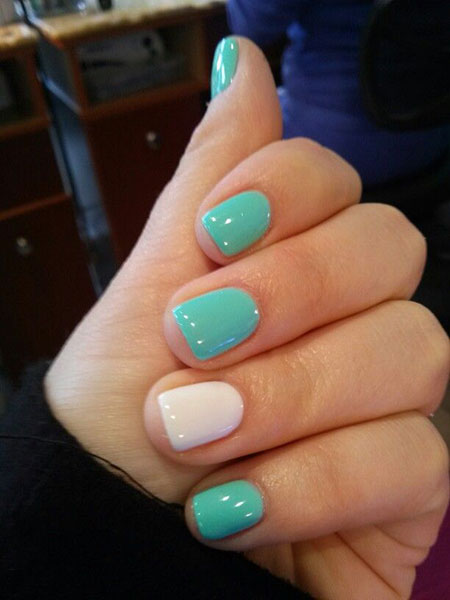 Simple Mint and White Nails, Gel Nail Shellac Manicure