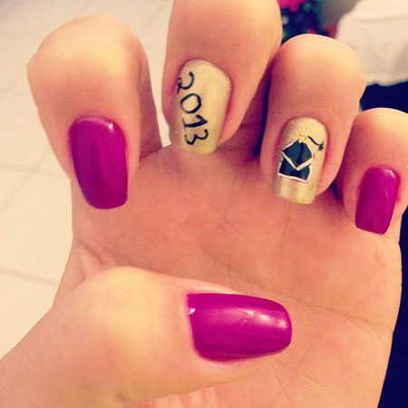 Cute Nail Art Idea for Graduation, Graduation Nail Cute Art