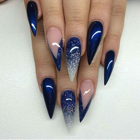 Blue Nails Stiletto Nail