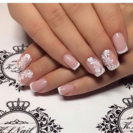 Short Wedding Nails with French Manicure, Nails Nail Wedding Simple