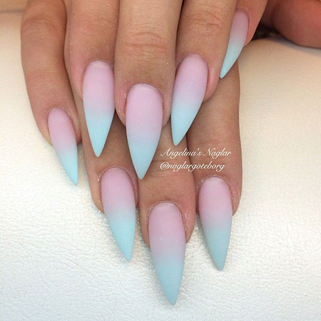 Nails Blue Pink Gradient