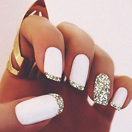 Classy White and Gold Nails, Nail Nails Ideas White