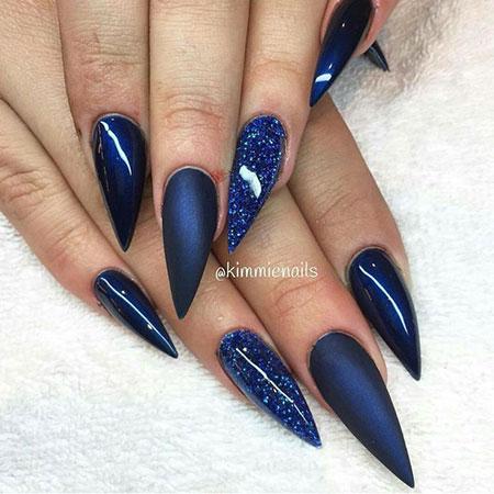 Blue Nails Glitter Stiletto