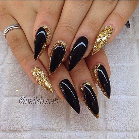 Black and Gold Nails, Stiletto Gold Black Gel