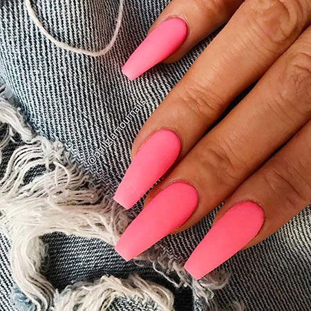 Coffin Nail Design 2018, Matte Coffin Pink Very