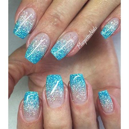 Ombre Nail Design, Glitter Ombre Acrylic Blue