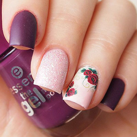 Rose Nail Design, Floral Manicure Rose Dark