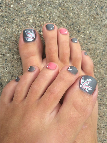 Toe Nail Design 2018, Toe Toes Pink Grey