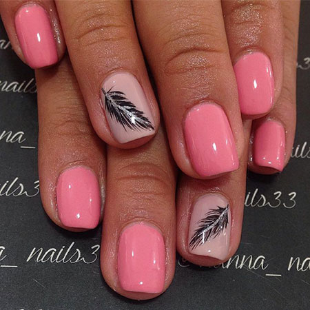 Black Feather Manicure Ideas