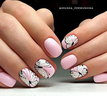 Butterfly Manicure Nude Pink