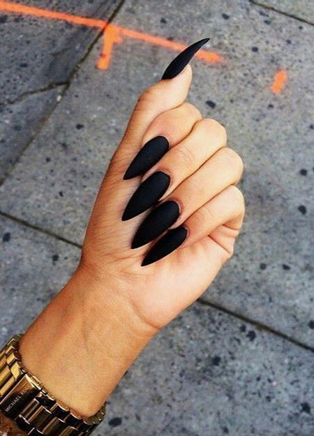 Black Stiletto Matte Long