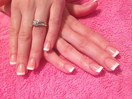 French Manicure Acrylic Engagement