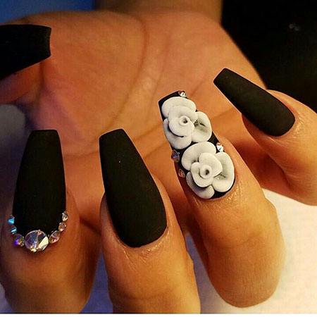Matte Black Coffin Manicure