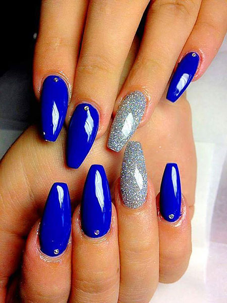 Manicure Blue Short Coffin