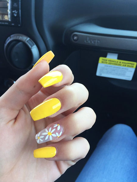 Yellow Acrylic Spring Ongles