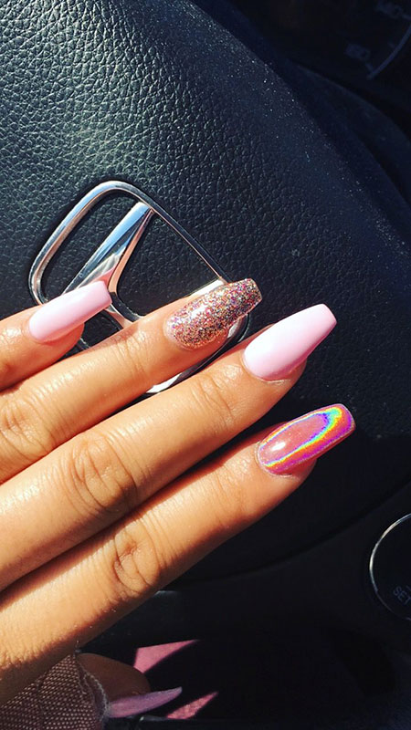 Holographic Pink Nails, Coffin Pink Holographic Acrylic
