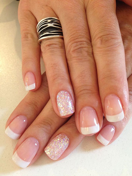 French Manicure Gel Nail Design, French Manicure Gel Ring