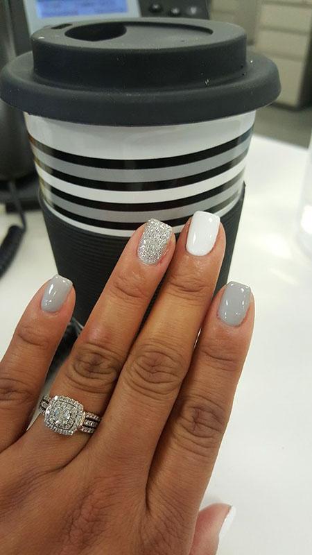 Grey and White Nail Art, Grey White Manicure Toe
