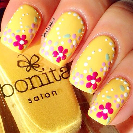 Yellow Nail Art, Spring Yellow Easy Beautiful