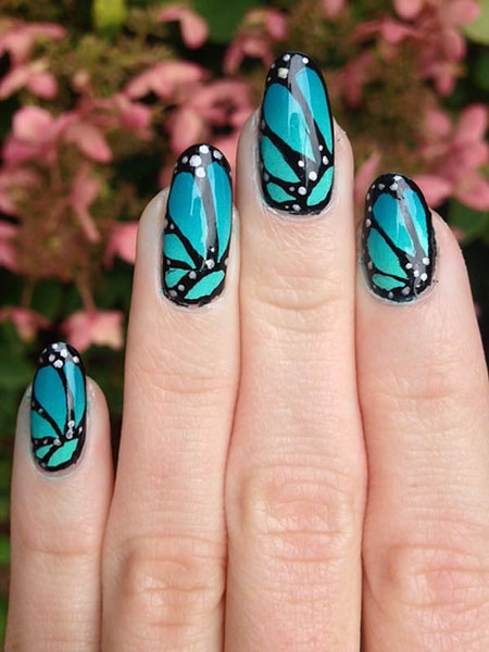 Glass Butterfly Shattered Manicure