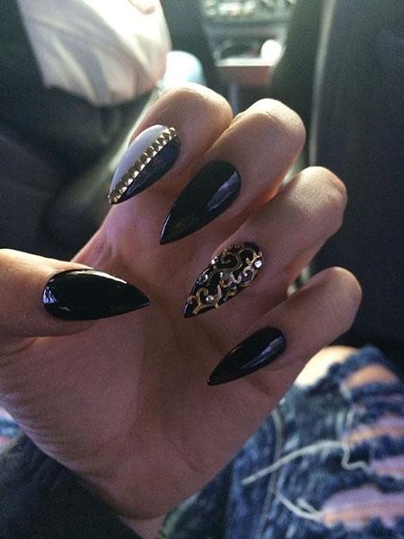 Stiletto Gold Black Pointy
