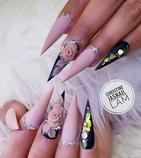3D Stiletto Nails, 3D Tırnak Rose Black